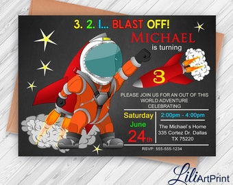 Space Invitation, 3rd Space Invitation, Space Birthday Invitation, Rocket Invitation, Rocket Invite Printable, Digital file, 10