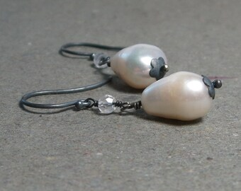 White Pearl Earrings Large Baroque Pearls Crystal Quartz Oxidized Sterling Silver June Birthstone Gift for Her