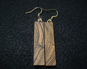Bocote wood dangle earrings,man's earring,woman's wooden earrings
