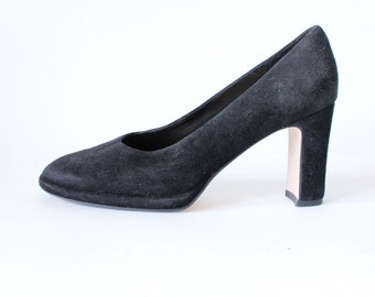 Vintage 1990s Black Suede Block Heel Pumps, size 8.5