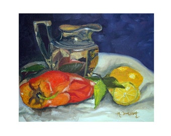 Original Still Life Oil Of Reflections On Creamer Pepper and Lemon Fine Art Oil Painting Wall Decor