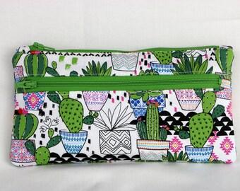Cactus Two Zipper Pouch, Pencil Pouch, Zipper Pouch, Cactus Gift, Floral, Cacti