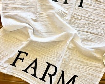 Farmhouse tea towel, handpainted tea towel, farmhouse linens