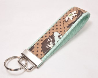 Key Fob Keychain Chocolate Cupcake Fabric on Pistachio Cotton Webbing
