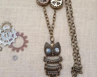 Steampunk jewelry, Steampunk Necklace, Owl Necklace, Owl Pendant, Owl Jewelry, Watch Gear Necklace, Watch Gear Jewelry, Turquoise Jewelry