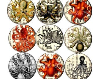 Set of 15 cabochons 25mm glass Octopus Octopus steampunk ZC109