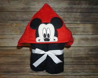 Custom Embroidered Hooded Towel- Mickey & Minnie Mouse Inspired