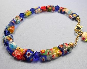 Millefiori Bracelet, Millefiori Jewelry, Floral Bracelet, Colorful Beaded Bracelet, Floral Jewelry, Adjustable Bracelet, Flower Bracelet