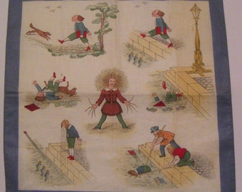 Antique STRUWWELPETER Handkerchief Child German Nursery