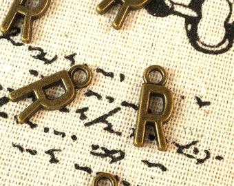 Alphabet letter R charm bronze vintage style jewellery supplies C32