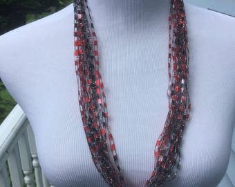 Red Scarf Necklace, Fiber Necklace, Red Necklace, Mom Gift, Neckwear, Strands Necklace, lightweight scarf, under 15, gift for her, Wife Gift
