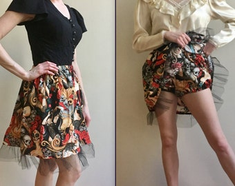 Made to order day of the dead  skirt with optional matching bloomer booty shorts, elastic waist, above the knee, tulle ruffle