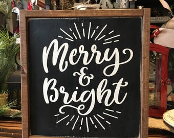 Merry & Bright Wood Sign - Holiday Decor - Christmas Decor - Home Decor