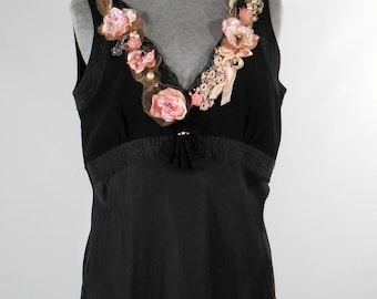 Vintage inspired upcycled black silk polyester chemise camisole top tattered romantic top blouse empire waist size med-large
