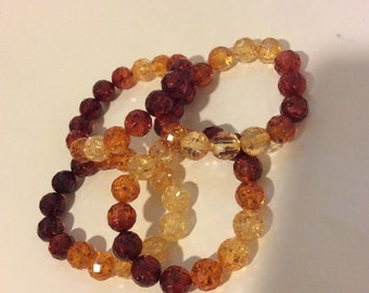 Brown ombre beaded stretch bracelet