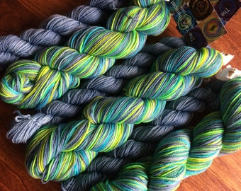 Ready to Ship - Self Striping Sock Yarn Firefly with one Solid Grey