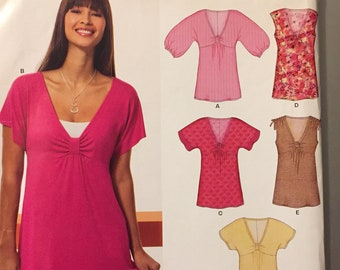 Misses' Tops Sewing Pattern New Look 6810  Size 10-22 Bust 32.5-44 Inches Uncut Complete