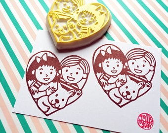 family love rubber stamp | boy girl dog | love heart stamp | dog lovers | diy christmas valentine card making | hand carved by talktothesun