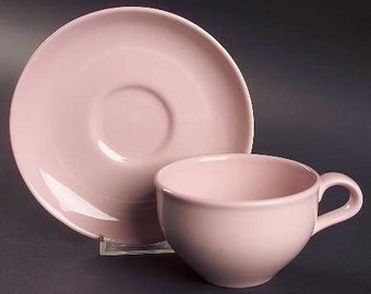 Russel Wright Iroquois Pink Sherbet Cup Saucer
