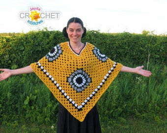 Crochet Granny Square Poncho - PDF Pattern - Jayda InStitches