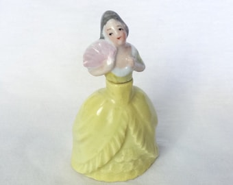Lovely Victorian Lady Pink Fan Figurine Figural Yellow Porcelain Scented  Perfume Bottle Vintage Germany