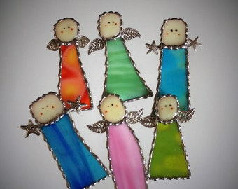 Stained Glass Angel Suncatcher, Stained glass Christmas Ornament, Holiday Ornaments, Holiday Decor, Glass Ornament, Stocking Stuffer