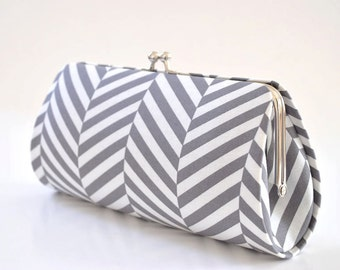 Herringbone in Gray - Bridesmaid Clutch - Custom made clutch - Wedding clutch - Gift idea - For her
