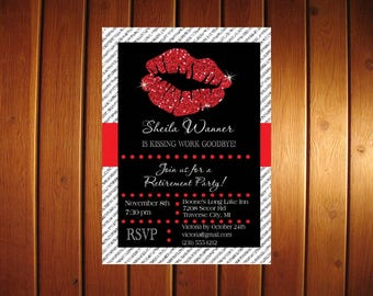 Glitter Retirement Invitation | Printable Retirement Invitation | Retirement Party Invite |  Kissing Work Goodbye | Choose Colors