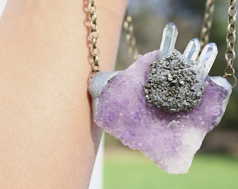 A Trip to the Moon amethyst cluster talisman with angel aura points