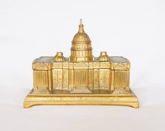 1958 Brass U.S. Capitol Building Box - Hinged Top Velour Lining - JB (Jennings Brothers) - Unique Gift