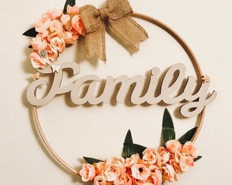 Embroidery hoop and artificial flower wreath - Family - Gift - home decor