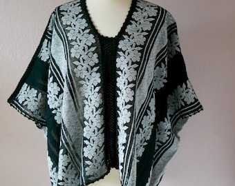"Mexican rebozo bluson blouse black white handwoven Amuzgos Oaxaca boho resort Frida Kahlo 42"" wide x 24"" Long"