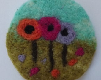 Pretty needle felted brooch badge pin with colourful poppies in a field - Made to Order