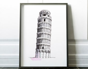Leaning tower of Pisa, Italy, Pisa, Print, wall art, Pisa Italy, art, architecture, art print, home decor, instant download