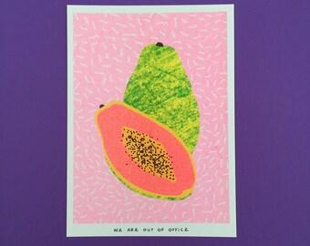 A risograph print of one and a half papaya