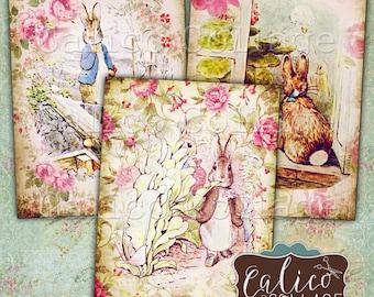 Peter Rabbit, Collage Sheet, Printable Ephemera, 2.5x3.5 Inch, Digital Tags, Easter Images, Printable Paper, Decoupage Clip Art