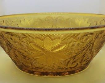 1970s Amber Tiara Glass Bowl, 9 inch diameter x 3 inch Tall
