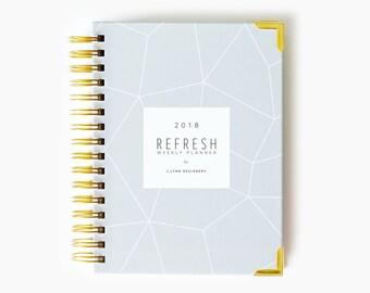 NEW! 2018 Refresh Weekly Planner: Geo Design // Weekly Planner, 2018, Agenda, Wire-bound, Calendar, Planning, Weekly