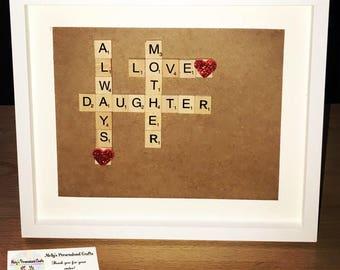 Mother, Daughter, Love, Always Scrabble Frame