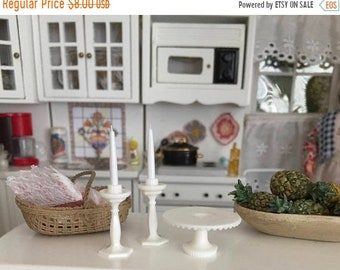 SALE Miniature White Cake Stand and Candle Set, 3 Piece Set, Dollhouse Miniature, 1:12 Scale, Dollhouse Accessory, Decor, Topper, Crafting