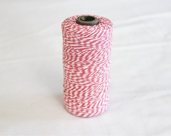 Spool of Strawberry Pink and White Bakers Twine - 240 yards