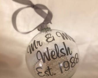 Personalised irridescent glass decoration bauble