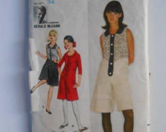 Vintage 60s Mod Culottes Pantdress, Divided Pants Skirt Sewing Pattern Designer Gerald McCann Butterick 3607 Size 14 Bust 34