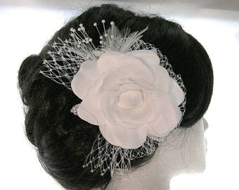 On Sale Camelia Bridal Hair Fascinator With French Netting Bow, Pearl Spray, Feathers and Embellished Millinery Leaves