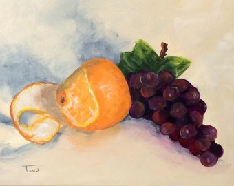 """Orange and Grapes  5"""" x 7"""" Original Painting on Ampersand Gessobord by Torrie Smiley"""