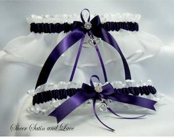 DOUBLE HEART Wedding garters PLUM purple and White Garter