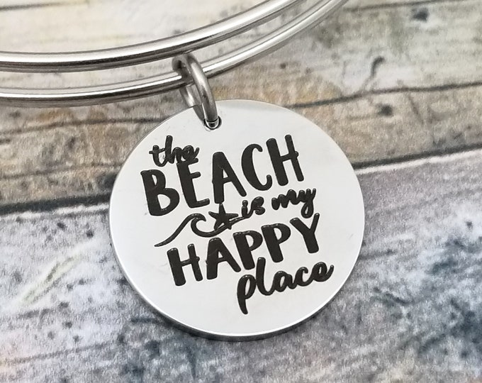 Beach is my Happy Place Customizable charm bracelet, create your own style, beach theme gifts, gift for mom, gift for girl