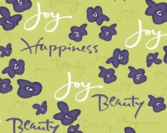 Kathy Davis Fabric, Sweet Words, PWKD037 Indigo, Free Spirit, 100% Cotton, #FS145