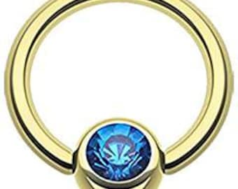 Captive Bead Body Jewelry with Blue CZ 14g 1/2 inch Gold Plated over Surgical Stainless Steel Intimate Jewelry