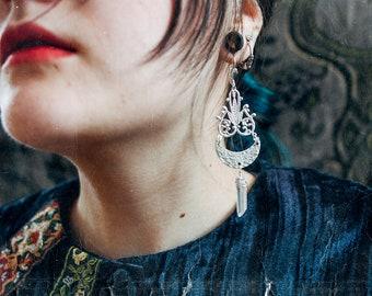 CRESCENT MOON chandelier | Aura quartz earrings
